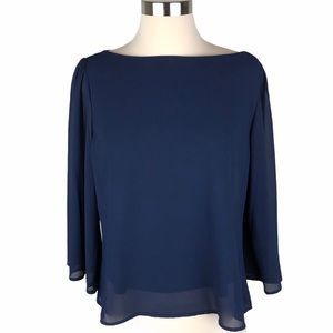 My Beloved Navy Blouse XS Sheer Overlay Sleeves